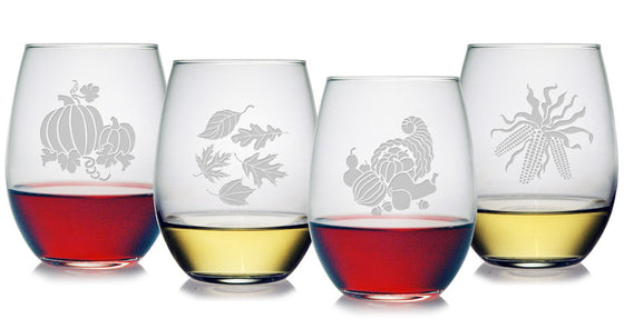 Festive Fall ~ Stemless Wine Glasses ~ Set of 4