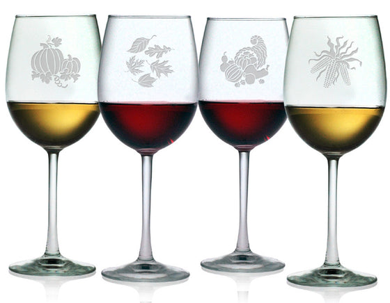 Festive Fall Wine Glasses ~ Set of 4