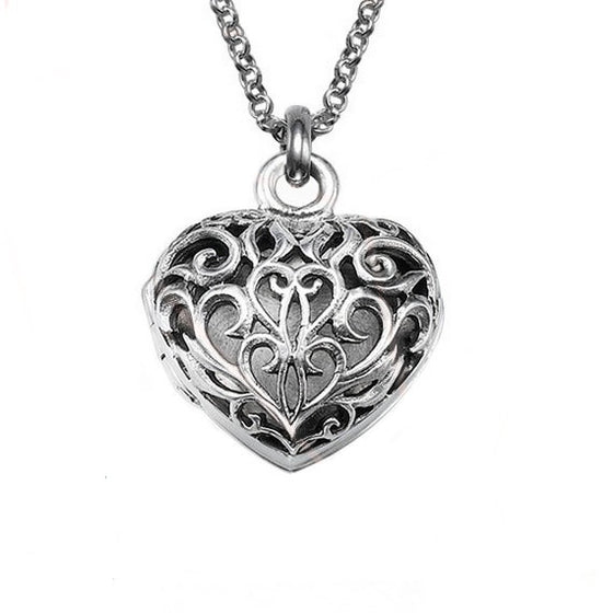 Filigree Heart Locket Necklace - Sterling Silver