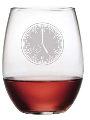Five O'Clock Stemless Wine Glasses ~ Set of 4