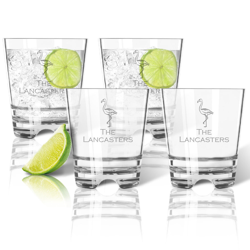 Flamingo Double Old Fashioned Outdoor Acrylic Glasses