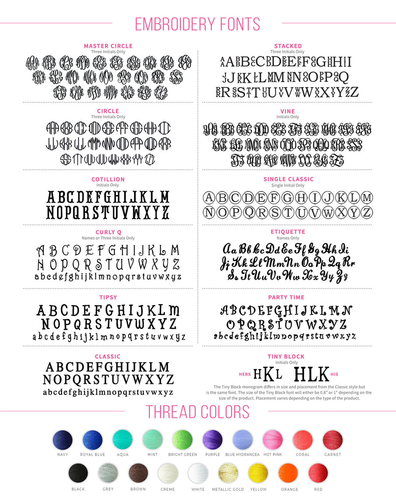 Fonts and Thread Colors - Premier Home & Gifts