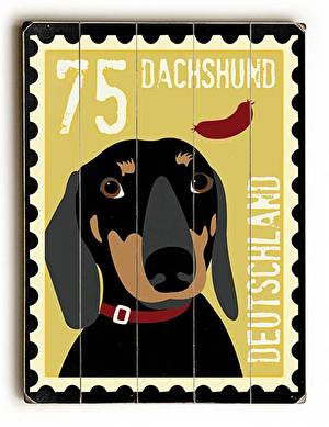 Dachshund Postage Stamp Wood Sign