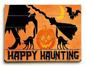 Happy Haunting Halloween Wood Sign
