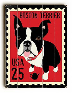 Boston Terrier Postage Stamp Wood Sign