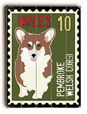 Corgi Postage Stamp Wood Sign