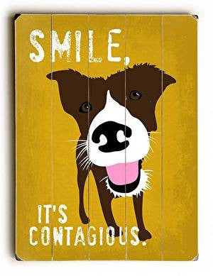 Smile It's Contagious Wood Sign