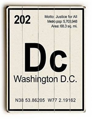 Washington DC Elements Wood Sign