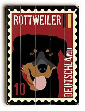 Rottweiler Postage Stamp Wood Sign
