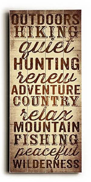 Outdoors & Hiking Wood Sign