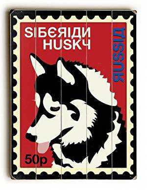 Siberian Husky Postage Stamp Wood Sign