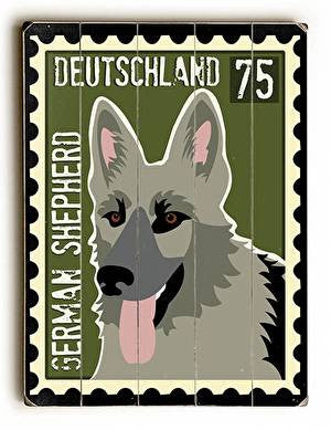 German Shepherd Postage Stamp Wood Sign