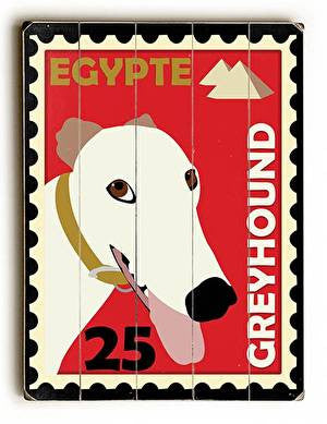 Greyhound Postage Stamp Wood Sign