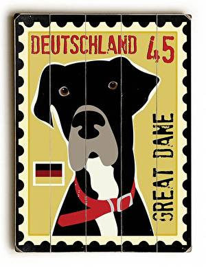Great Dane Postage Stamp Wood Sign