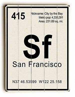 San Francisco Elements Wood Sign