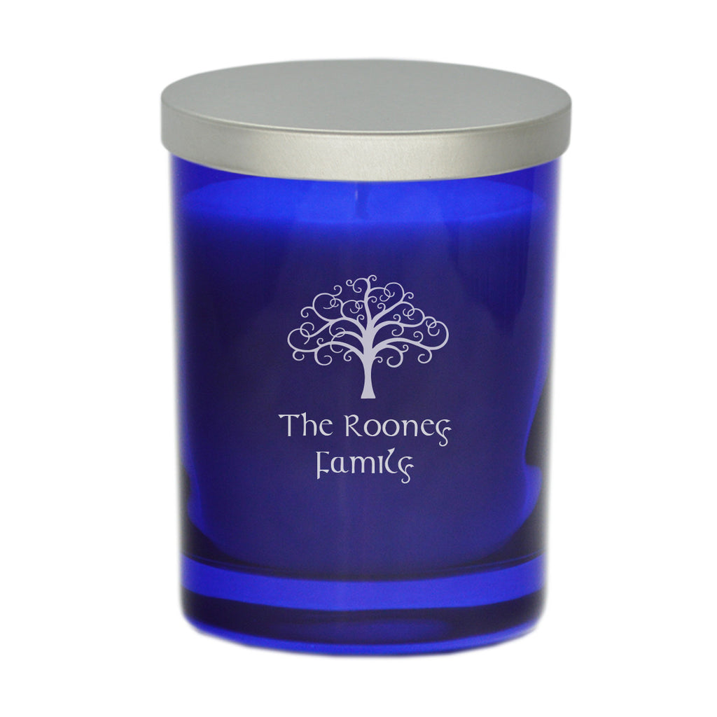 Tree of Life & Celtic Name Candle - Cobalt Blue
