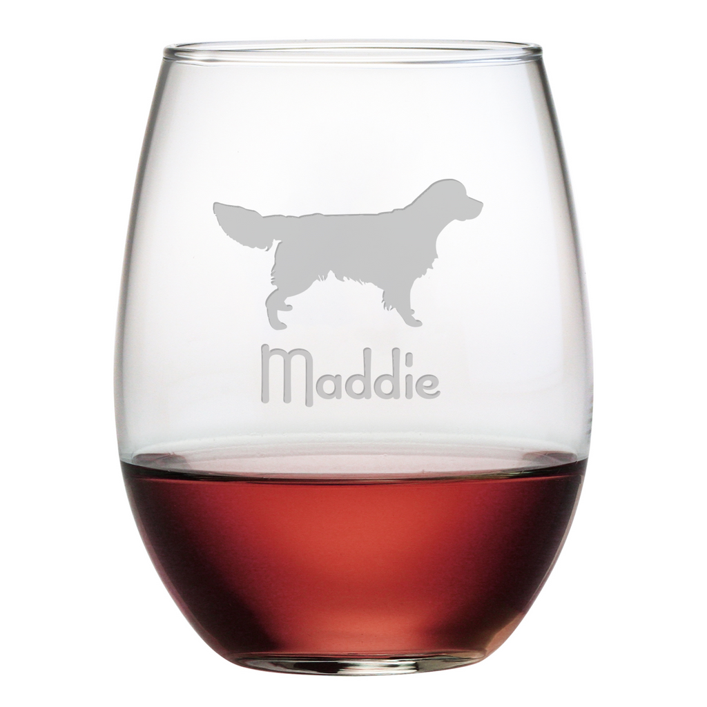 Golden Retriever Stemless Wine Glasses - Personalized ~ Premier Home & Gifts