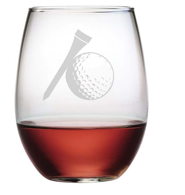 Golf Ball & Tee Stemless Wine Glasses ~ Set of 4