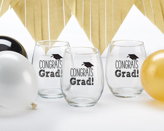 Congrats Grad Stemless Glass Set of 4