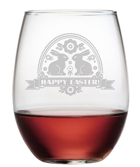 Happy Easter Banner Stemless Wine Glasses ~ Set of 4