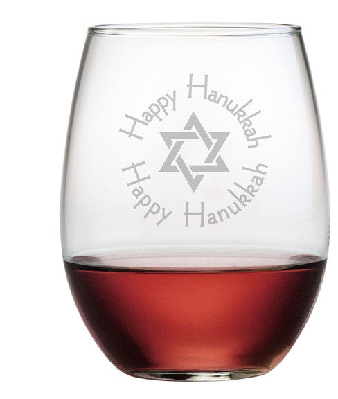 Happy Hanukkah - Design 2 - Stemless Wine Glasses ~ Set of 4