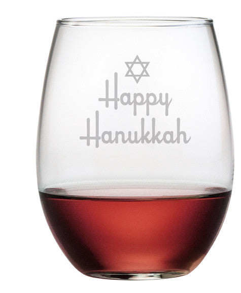 Happy Hanukkah - Design 3 - Stemless Wine Glasses ~ Set of 4