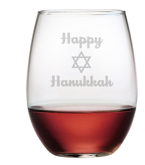 Happy Hanukkah - Design 1 - Stemless Wine Glasses ~ Set of 4