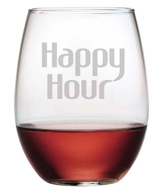 Happy Hour Stemless Wine Glasses