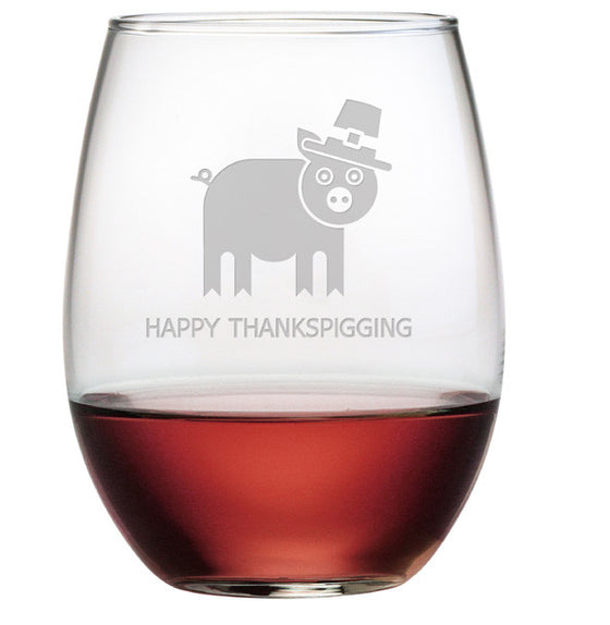 Happy Thankspigging Stemless Wine Glasses ~ Set of 4