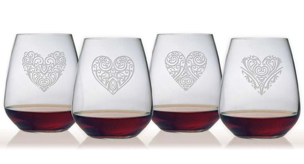 Heart Designs Bormioli Stemless Wine Glasses ~ Set of 4