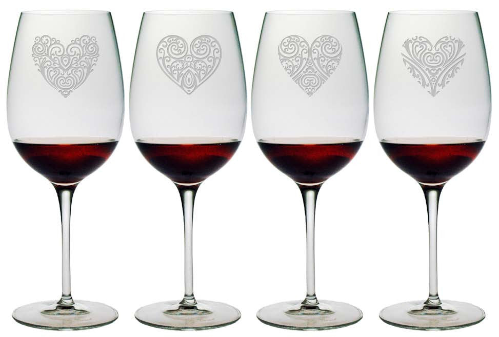 Heart Designs Bormioli Wine Glasses ~ Set of 4