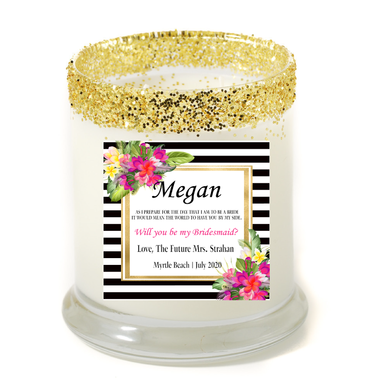 Hibiscus By My Side Personalized Candle - Bridesmaid Gifts - Premier Home & Gifts