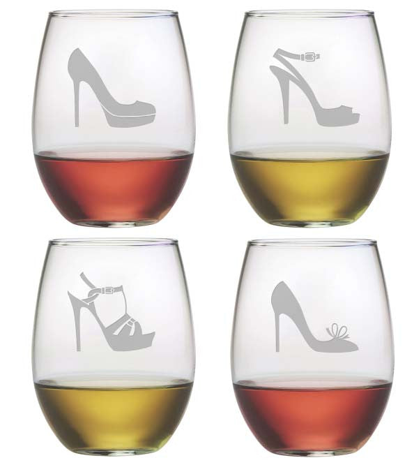 High Heels Stemless Wine Glasses ~ Set of 4 | Premier Home & Gifts