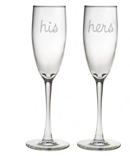 His and Hers Champagne Glasses ~ Set of 2