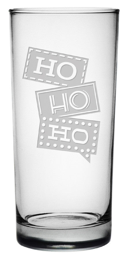 Ho Ho Ho Highball Glasses ~ Set of 4