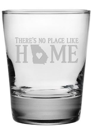 No Place Like Home Double Old Fashioned Glasses ~ Set of 4