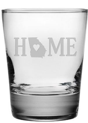 Home State Double Old Fashioned Glasses ~ Set of 4