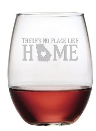 No Place Like Home ~ Stemless Wine Glasses ~ Set of 4