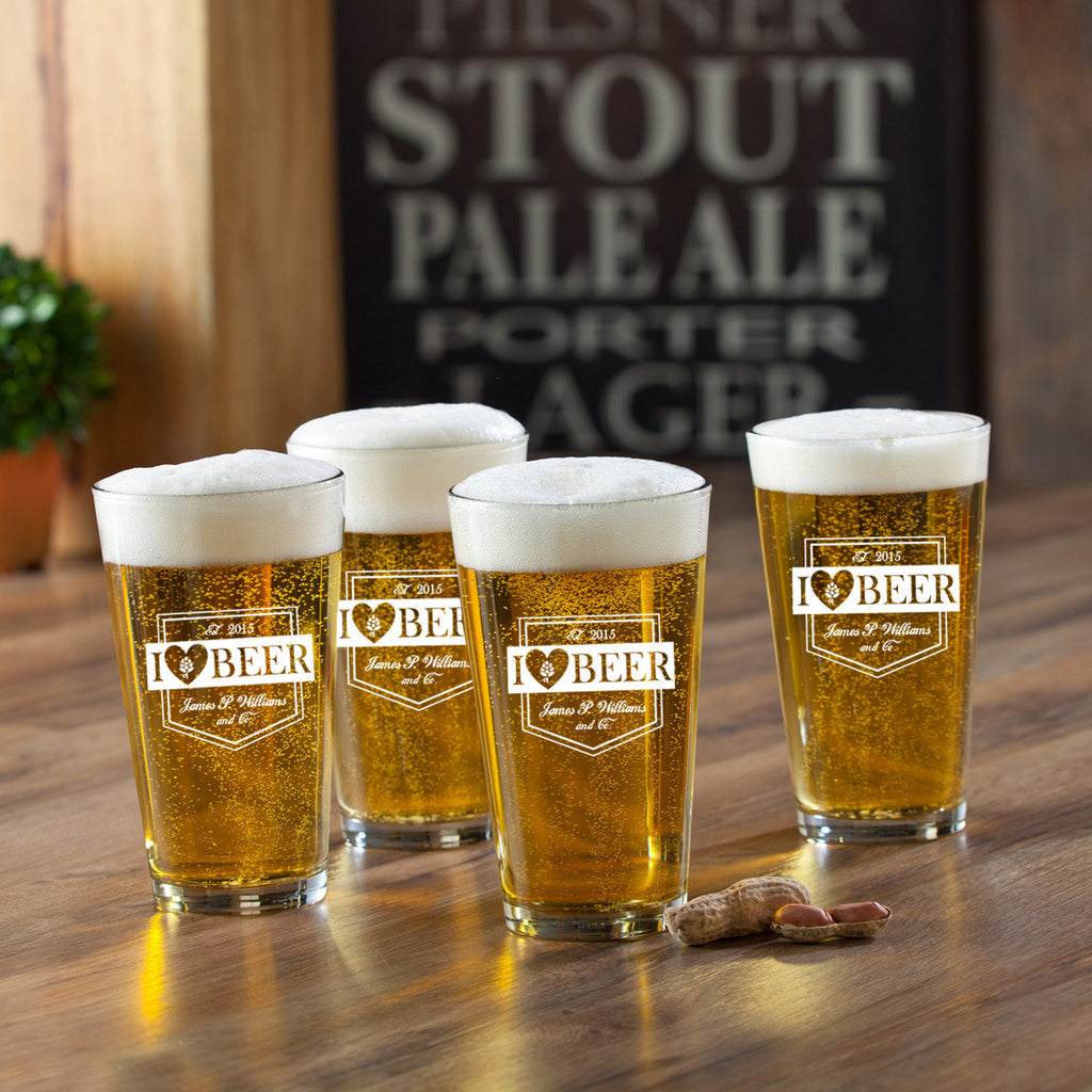 I Love Beer Pint Set - Personalized