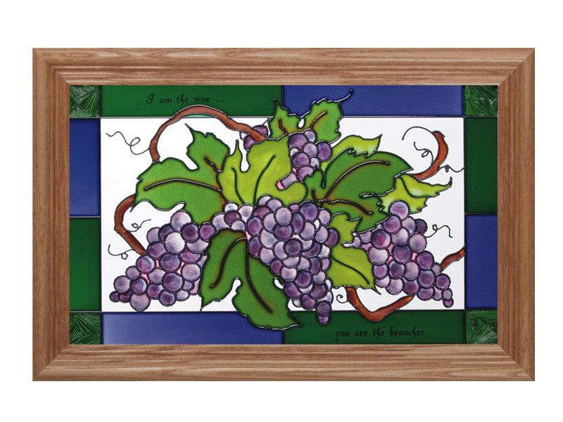 Vine and Branches Hand Painted Stained Glass Art