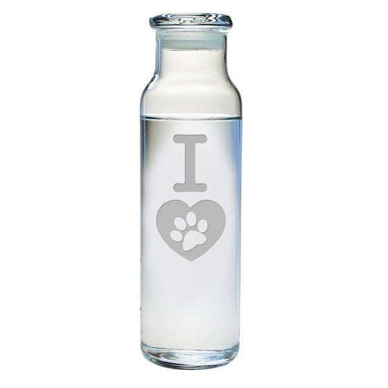 I Heart Paw Water Bottle with Lid