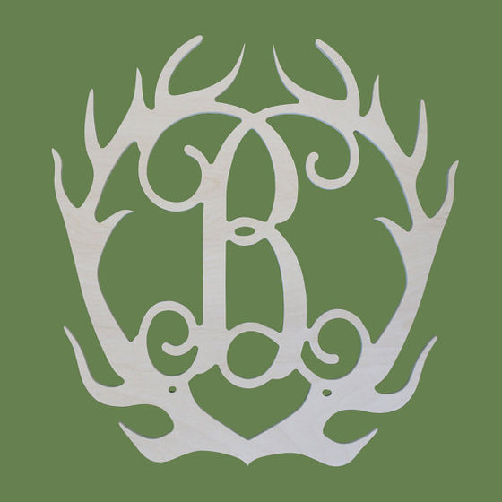 Antler Initial Wood Monogram - Gifts for the Lake Home and Cabin