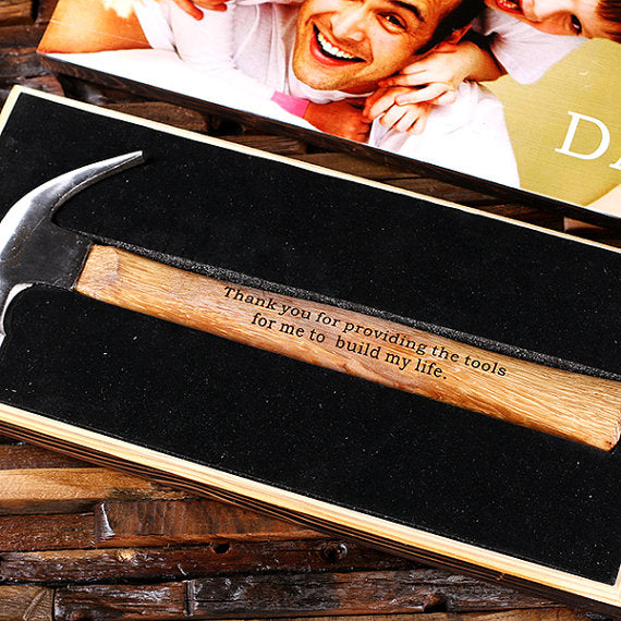 Engraved Hammer and Wood Gift Box - Personalized Gifts for Men