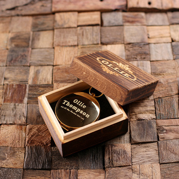 Engraved Compass and Wood Gift Box - Special Events Gifts
