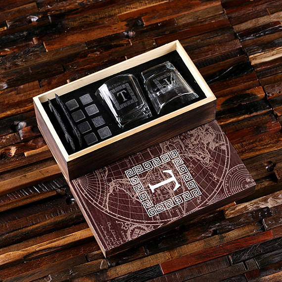 Whiskey Glasses Gift Set in Wood Gift Box - Gifts for Him