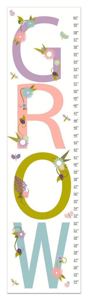 Grow Personalized Growth Chart - Nursery Decor - Baby Gifts