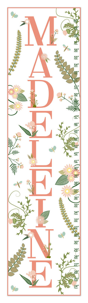 Floral Name Personalized Growth Chart - Nursery Decor - Baby Gifts