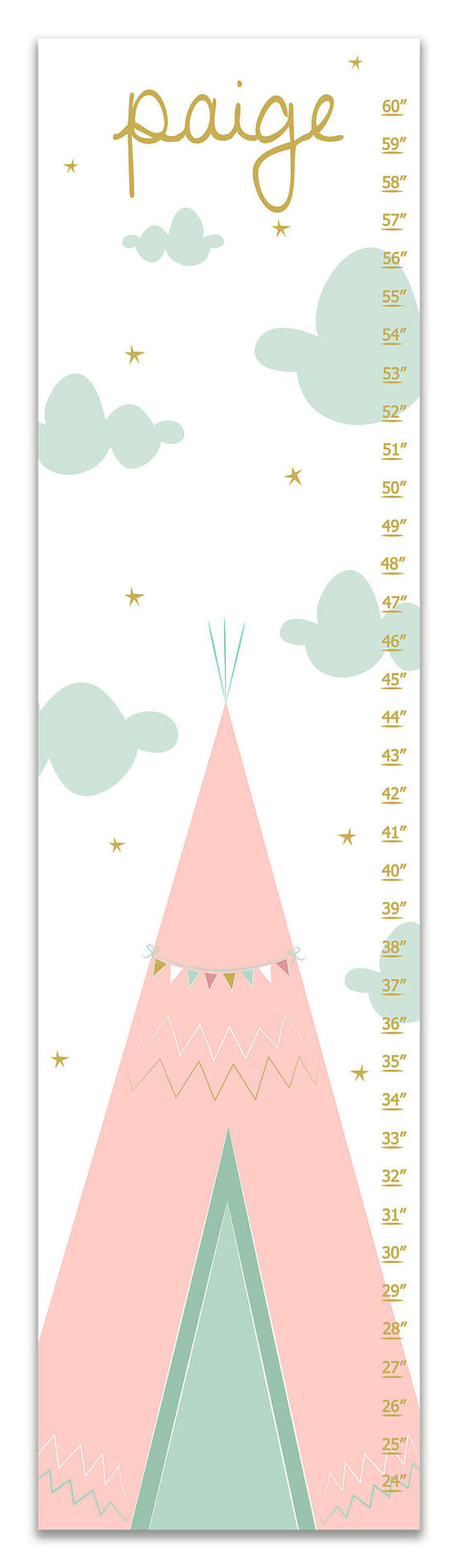 Teepee Personalized Growth Chart - Pink & Mint - Nursery Decor