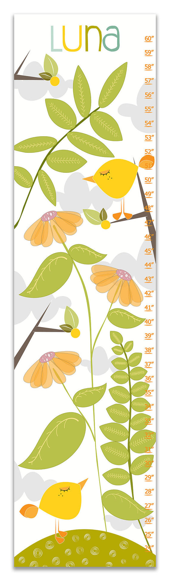 Tweety Birds Personalized Growth Chart - Nursery Decor - Baby Gifts
