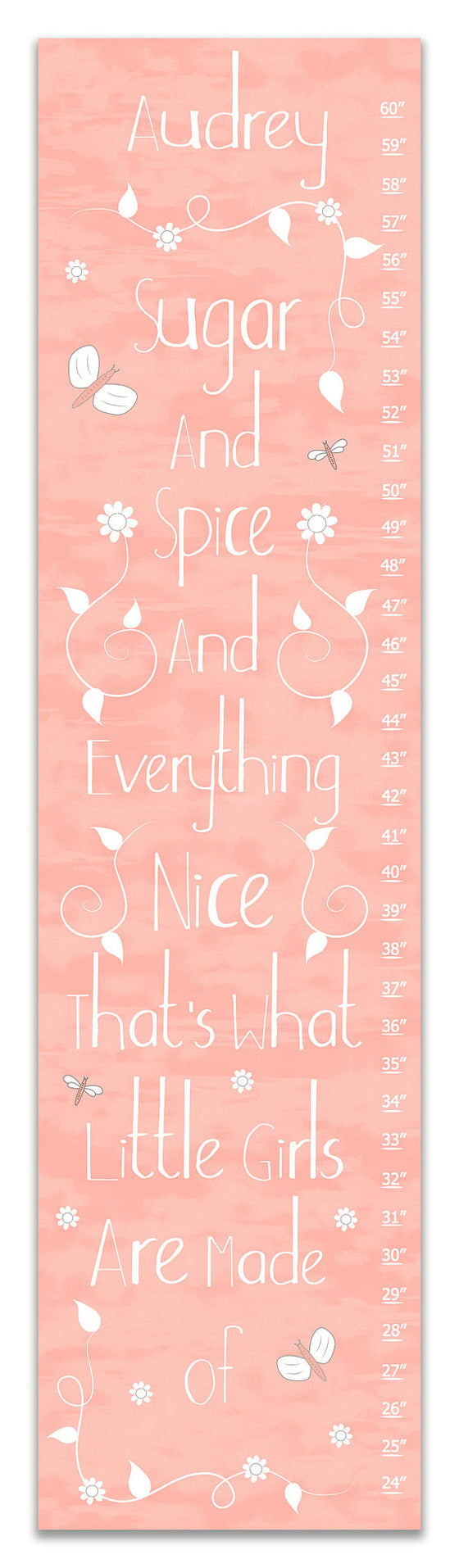 Sugar and Spice Pink Personalized Growth Chart - Nursery Decor